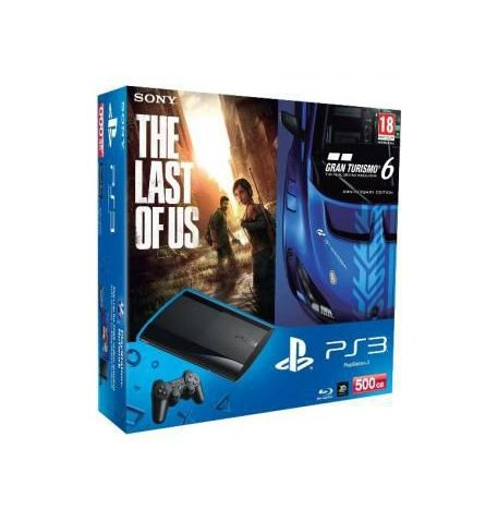 Фото №1 - Sony Playstation 3 SUPER SLIM 500 Gb + Игра Gran Turismo 6 + Игра The Last of Us