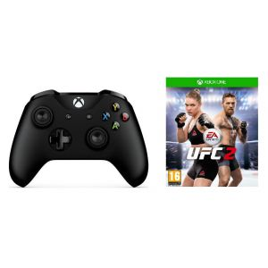 Microsoft Xbox One S Black Wireless Controller + UFC 2