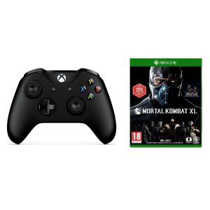 Microsoft Xbox One S Black Wireless Controller + Mortal Kombat XL
