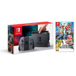 Nintendo Switch Gray + игра Super Smash Bros. Ultimate (Гарантия 18 месяцев)