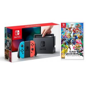 Nintendo Switch Neon blue/red + игра Super Smash Bros. Ultimate (Гарантия 18 месяцев)