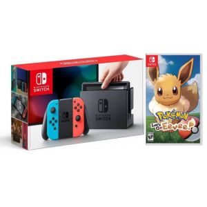 Nintendo Switch Neon blue/red + Игра  Pokémon Let's Go Eevee!(Гарантия 18 месяцев)