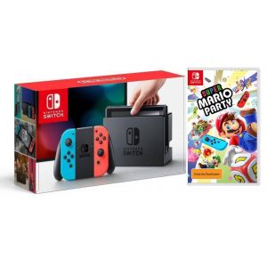 Nintendo Switch Neon blue/red + Super Mario Party (Гарантия 18 месяцев)