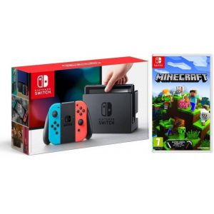 Nintendo Switch Neon blue/red + Игра Minecraft (Гарантия 18 месяцев)