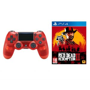 Sony Dualshock 4 Crystal Red version 2 + Red Dead Redemption 2 PS4 Русские субтитры