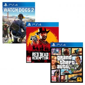 Watch Dogs 2 PS4 русская версия + Red Dead Redemption 2 PS4 Русские субтитры + Grand Theft Auto V (GTA 5) PS4 русские субтитры