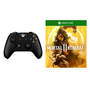 Microsoft Xbox One S Black Wireless Controller + Mortal Kombat 11 Xbox One русская версия