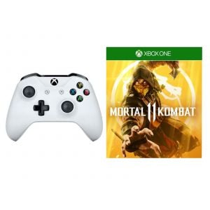 Microsoft Xbox One S White Wireless Controller + Mortal Kombat 11 Xbox One русская версия