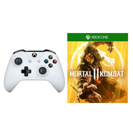 Фото №1 - Microsoft Xbox One S White Wireless Controller + Mortal Kombat 11 Xbox One русская версия